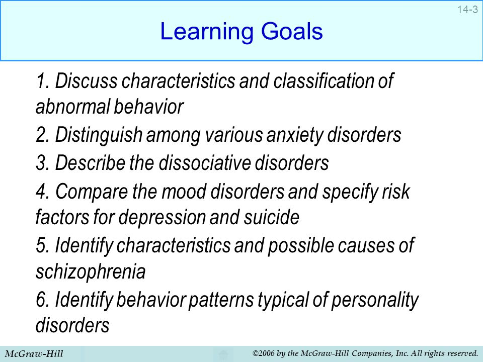 Learning Goals 1. Discuss characteristics and classification of abnormal behavior. 2. Distinguish among various anxiety disorders.