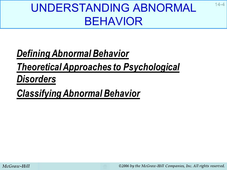 understanding normal and abnormal behavior Abnormal behavior is often seen as behavior that is different from normal behavior the point has always been, what is considered normal and abnormal this section introduces you to the concept of normal and abnormal behavior we review how definitions of what is normal and abnormal have changed.