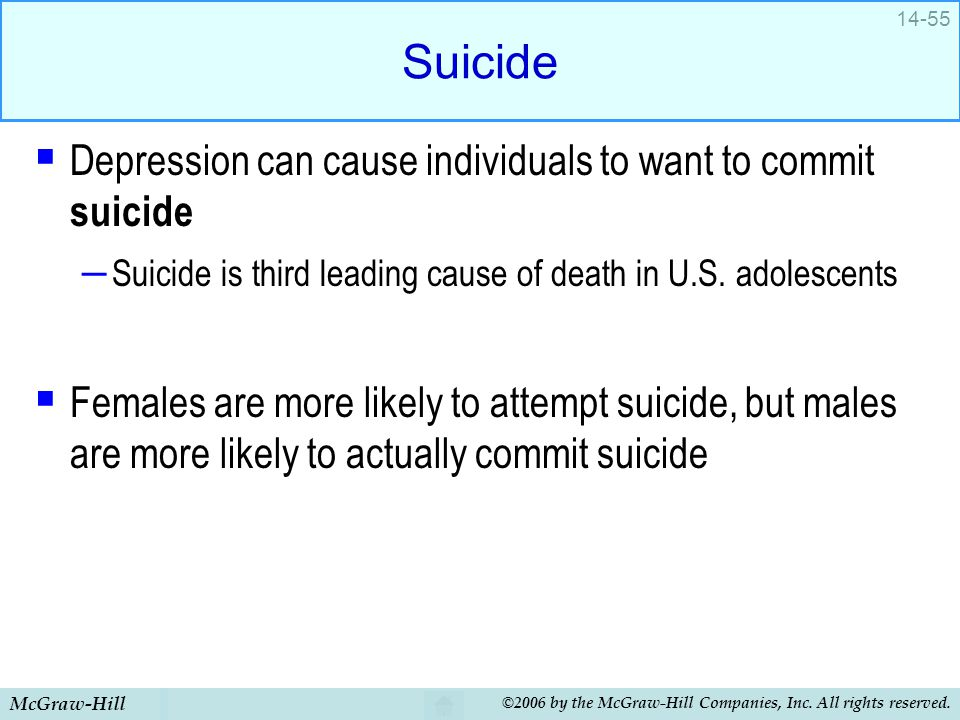 Suicide Depression can cause individuals to want to commit suicide