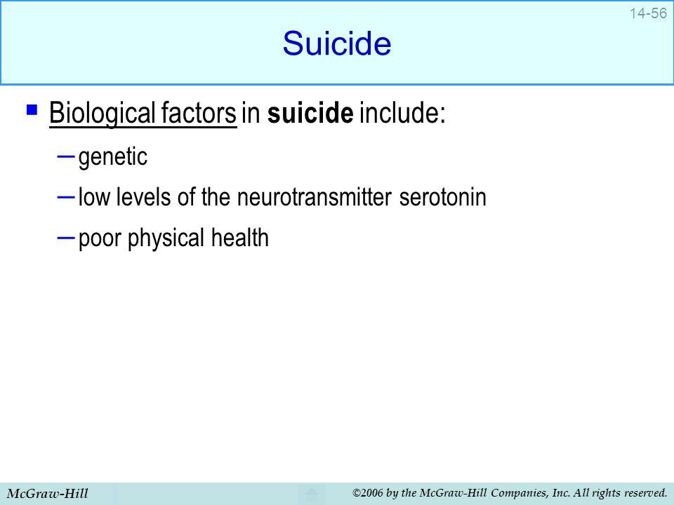 Suicide Biological factors in suicide include: genetic