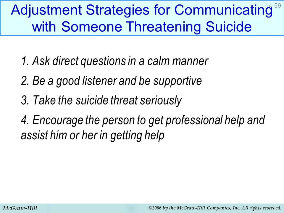Adjustment Strategies for Communicating with Someone Threatening Suicide