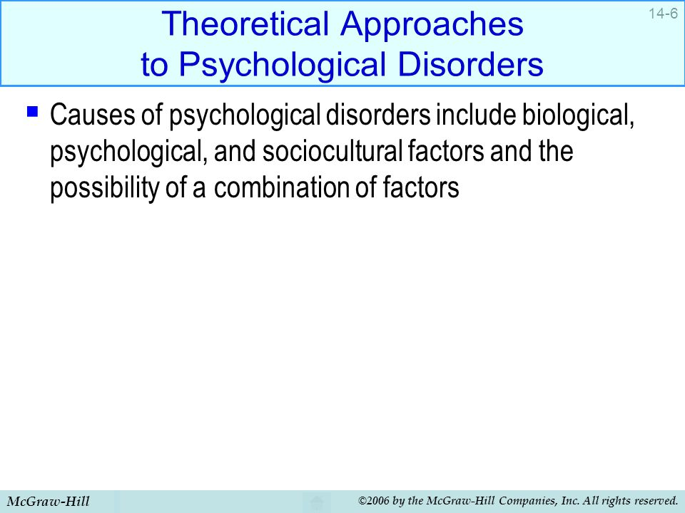 Theoretical Approaches to Psychological Disorders