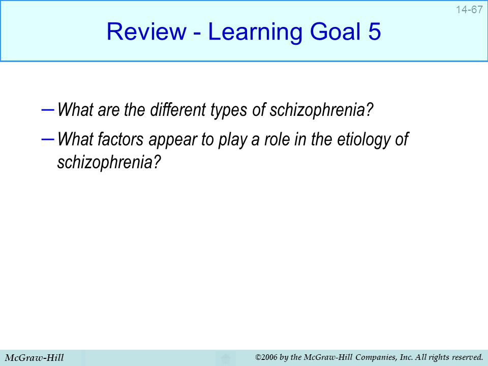 Review - Learning Goal 5 What are the different types of schizophrenia What factors appear to play a role in the etiology of schizophrenia