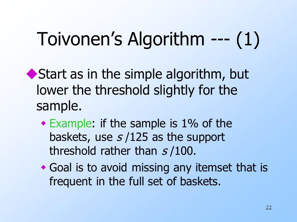 Toivonen's Algorithm --- (1)