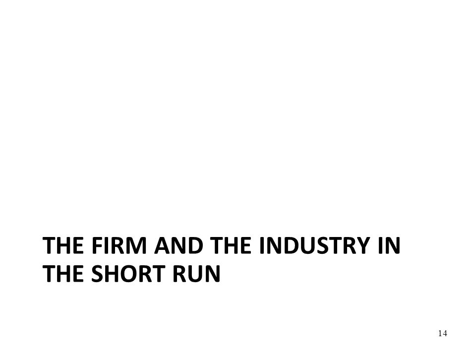 The firm and the industry in the short run