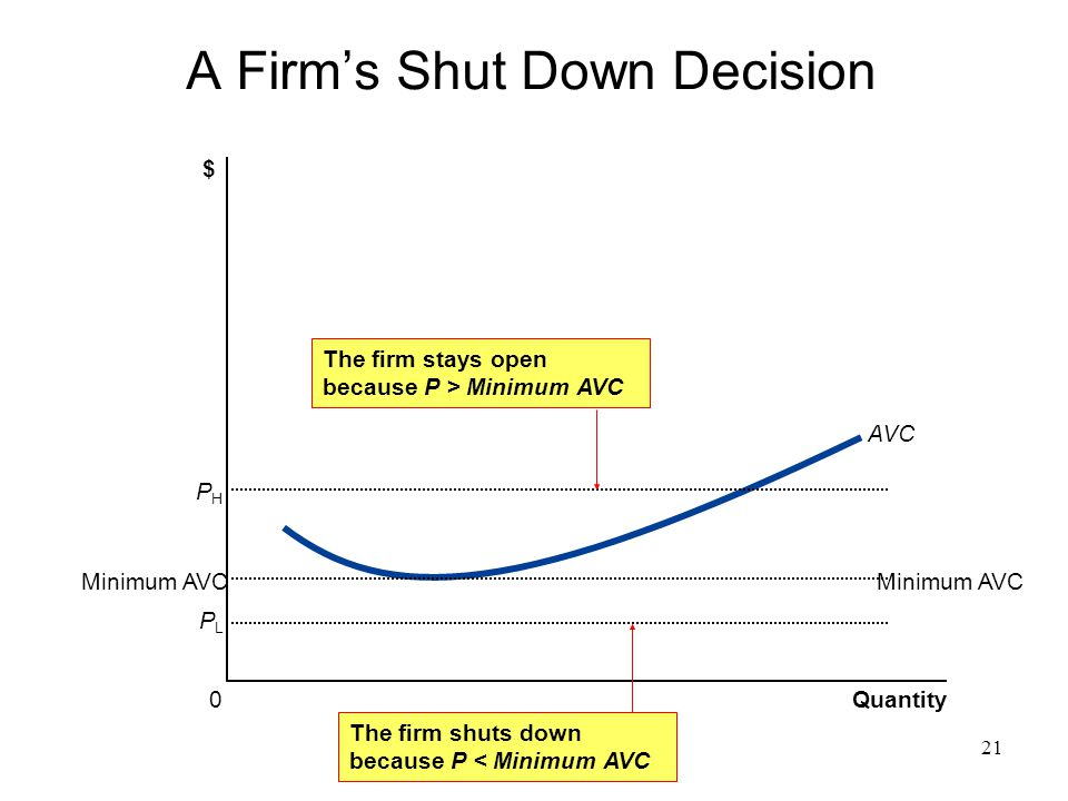 A Firm's Shut Down Decision