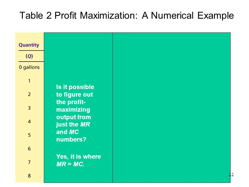 Table 2 Profit Maximization: A Numerical Example
