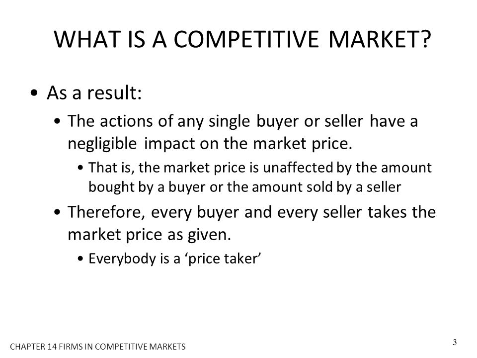 WHAT IS A COMPETITIVE MARKET