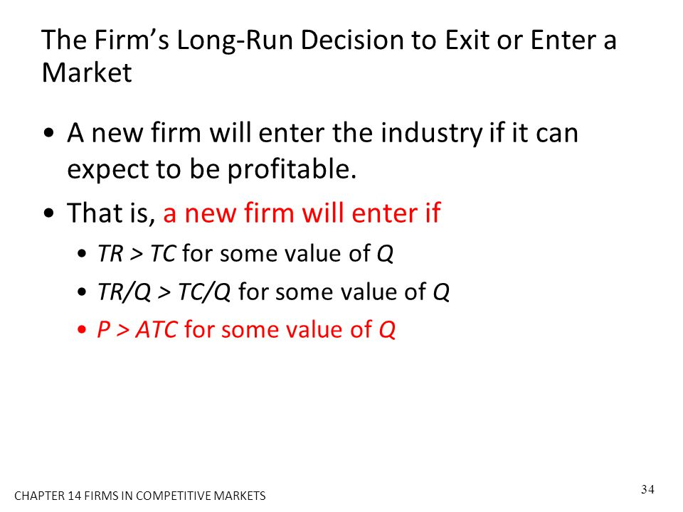 The Firm's Long-Run Decision to Exit or Enter a Market