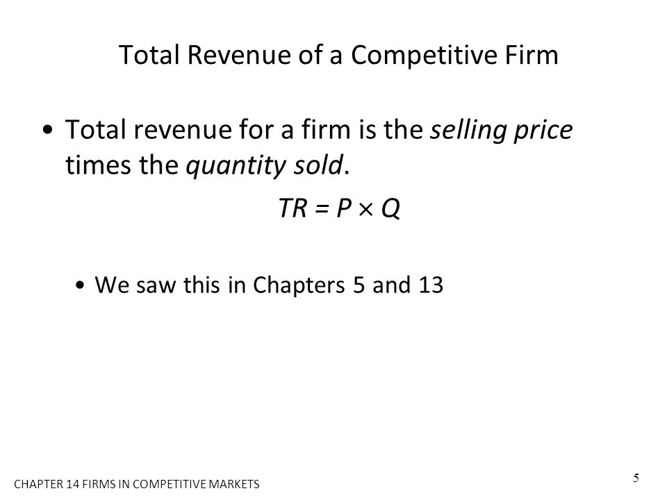 Total Revenue of a Competitive Firm