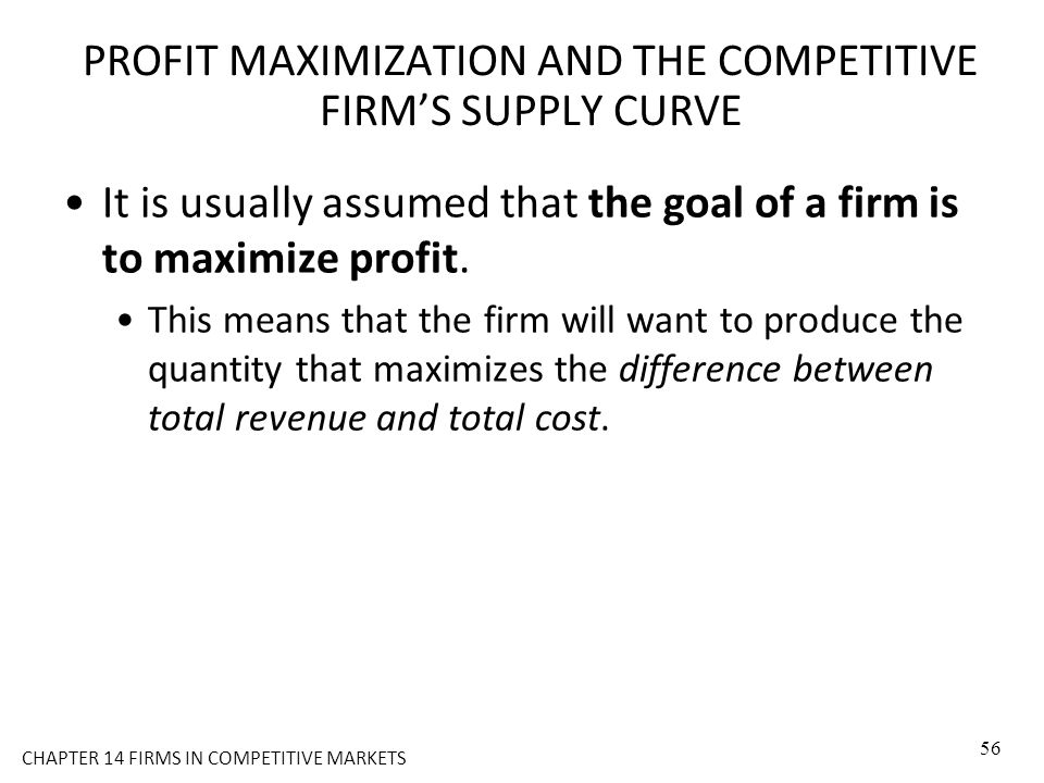 PROFIT MAXIMIZATION AND THE COMPETITIVE FIRM'S SUPPLY CURVE