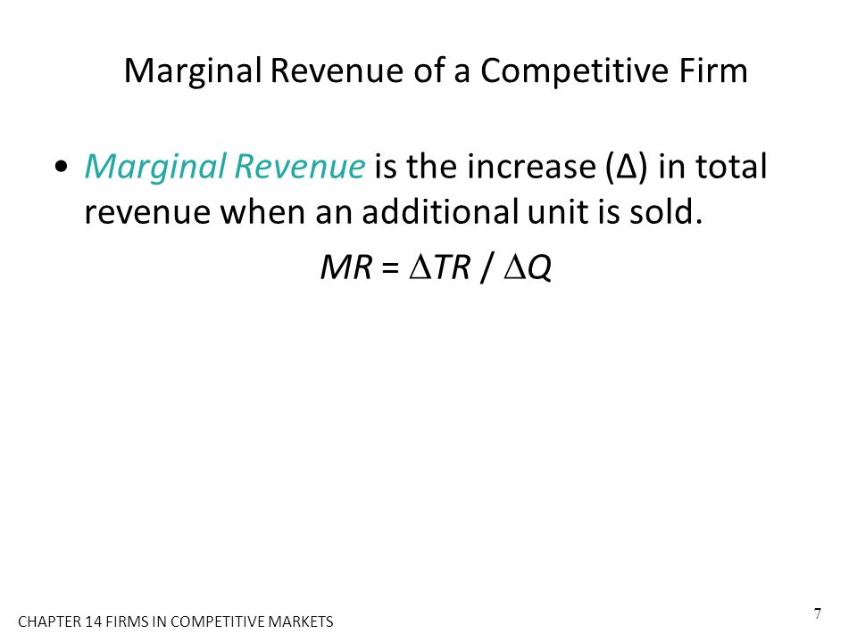 Marginal Revenue of a Competitive Firm