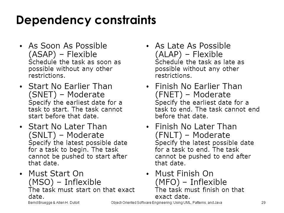 Dependency constraints