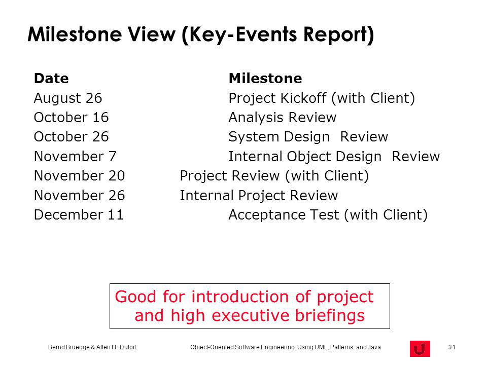 Milestone View (Key-Events Report)