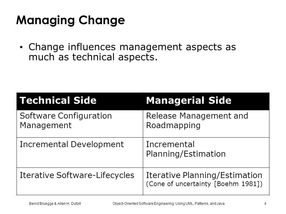 Managing Change Change influences management aspects as much as technical aspects. Technical Side.