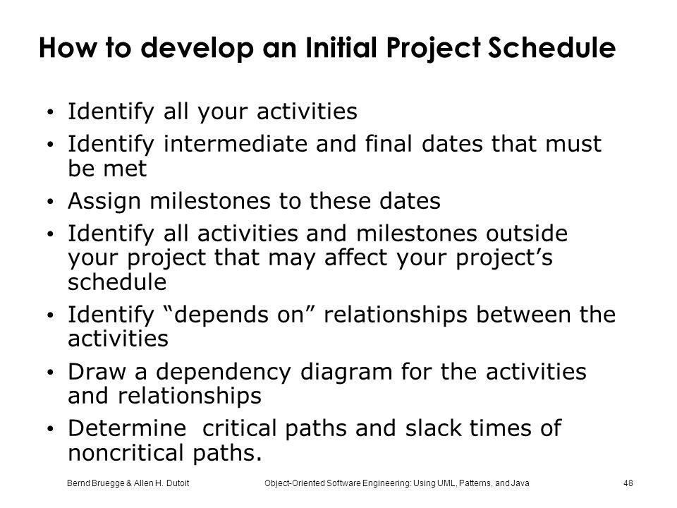 How to develop an Initial Project Schedule
