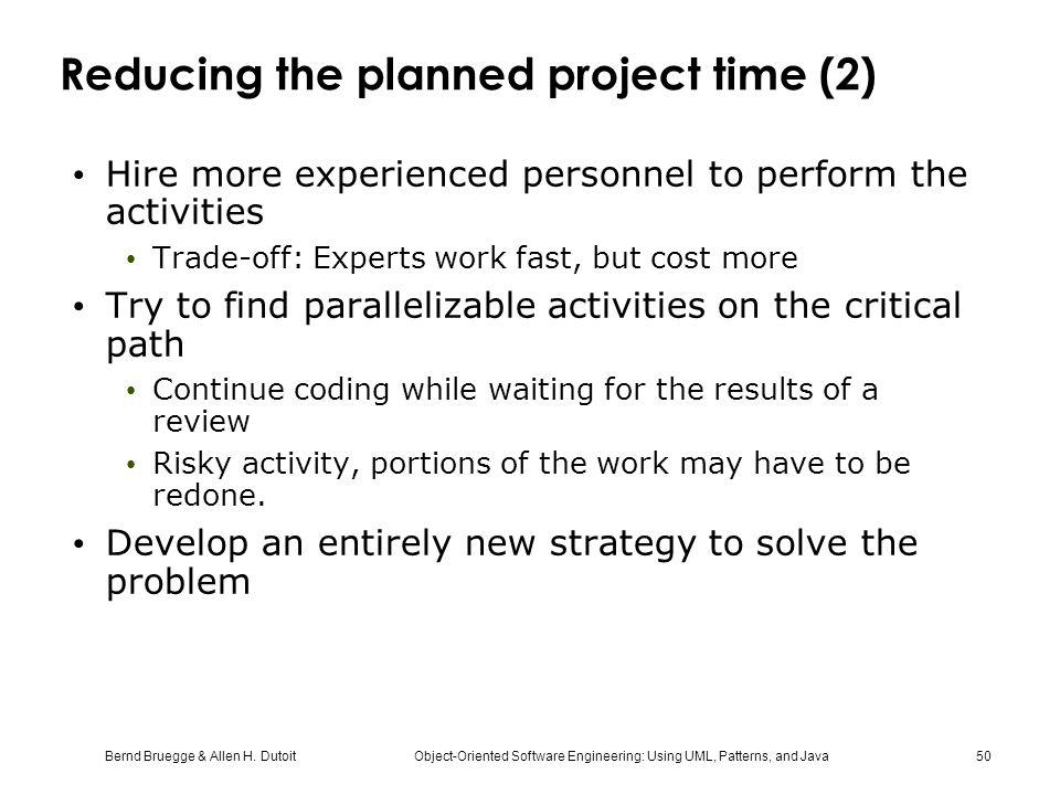 Reducing the planned project time (2)