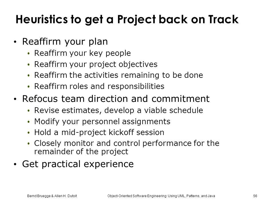 Heuristics to get a Project back on Track