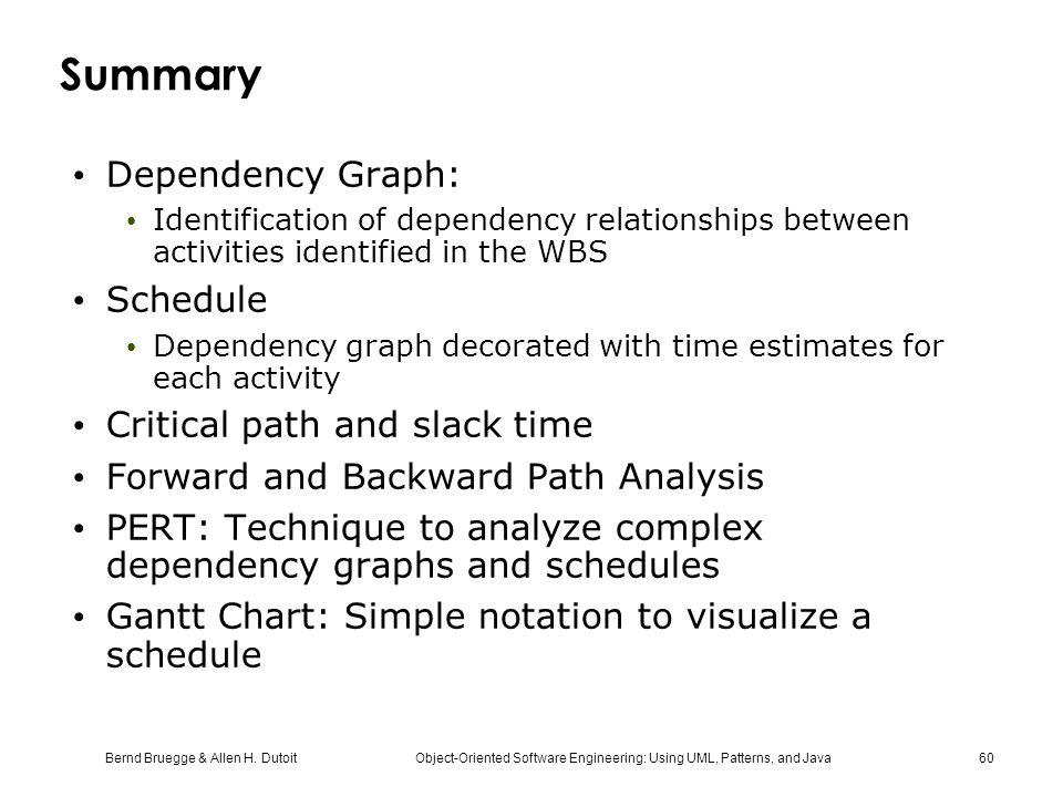 Summary Dependency Graph: Schedule Critical path and slack time