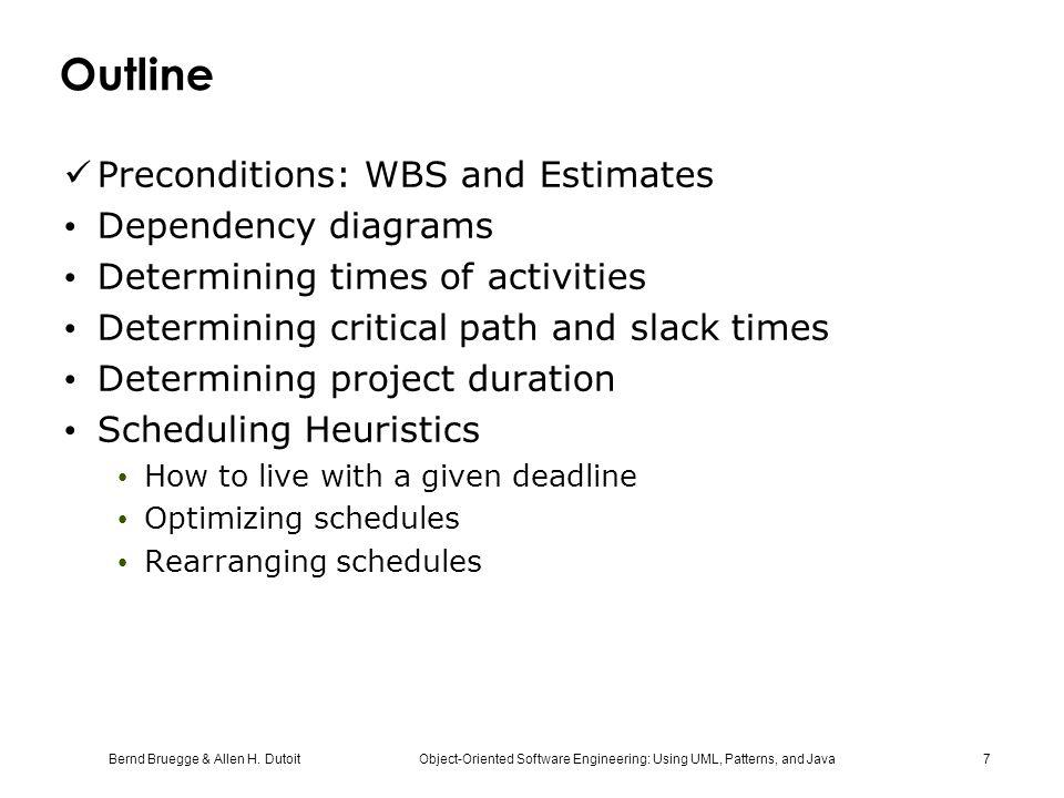 Outline Preconditions: WBS and Estimates Dependency diagrams