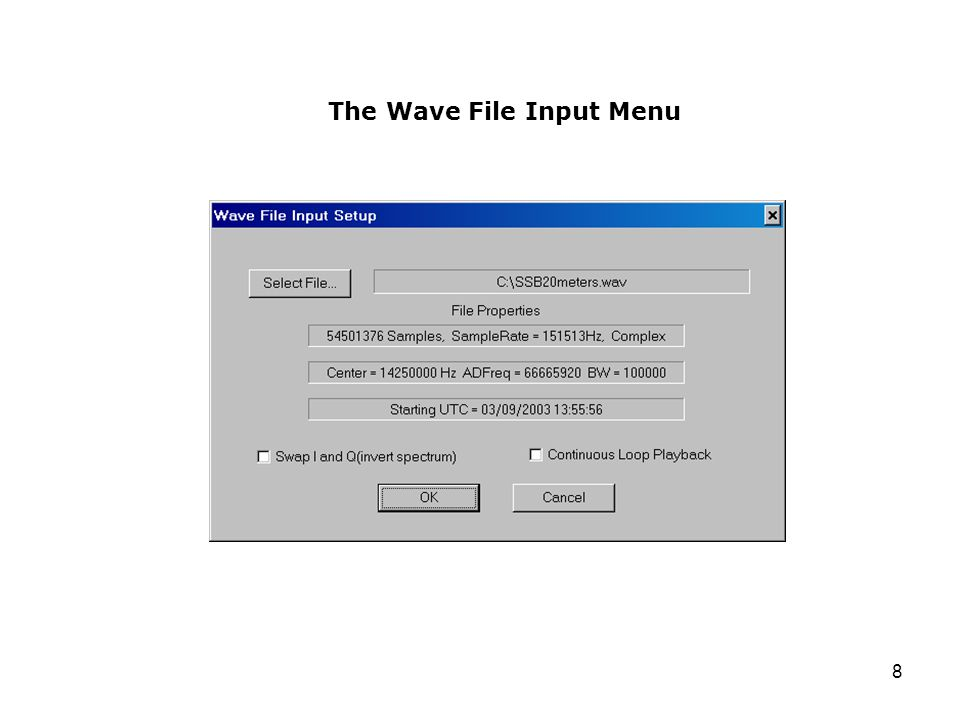 The Wave File Input Menu