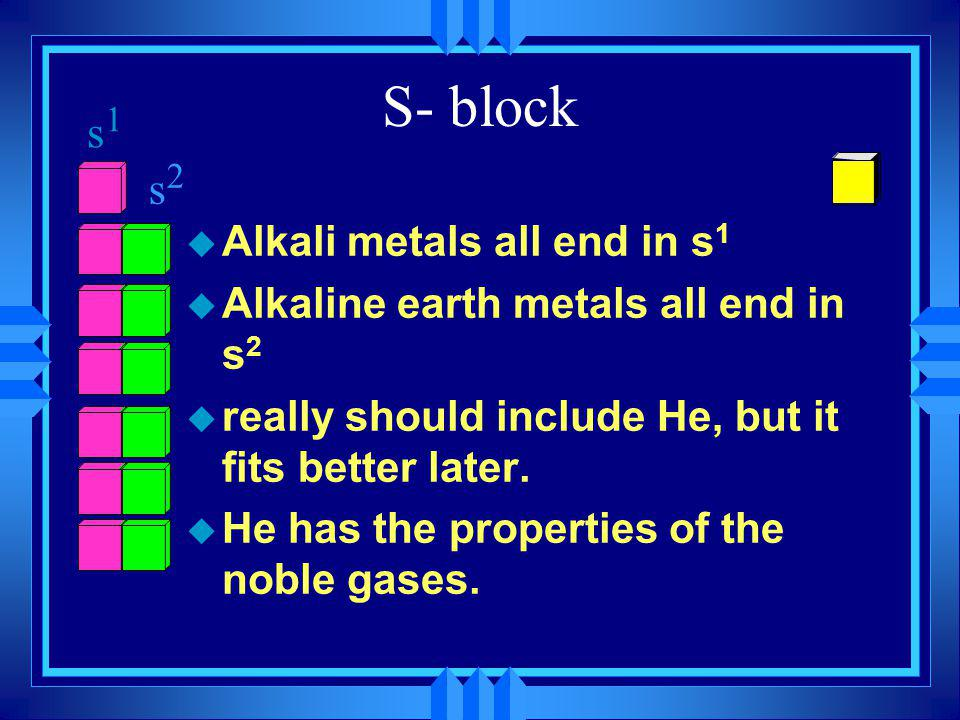 S- block s1 s2 Alkali metals all end in s1