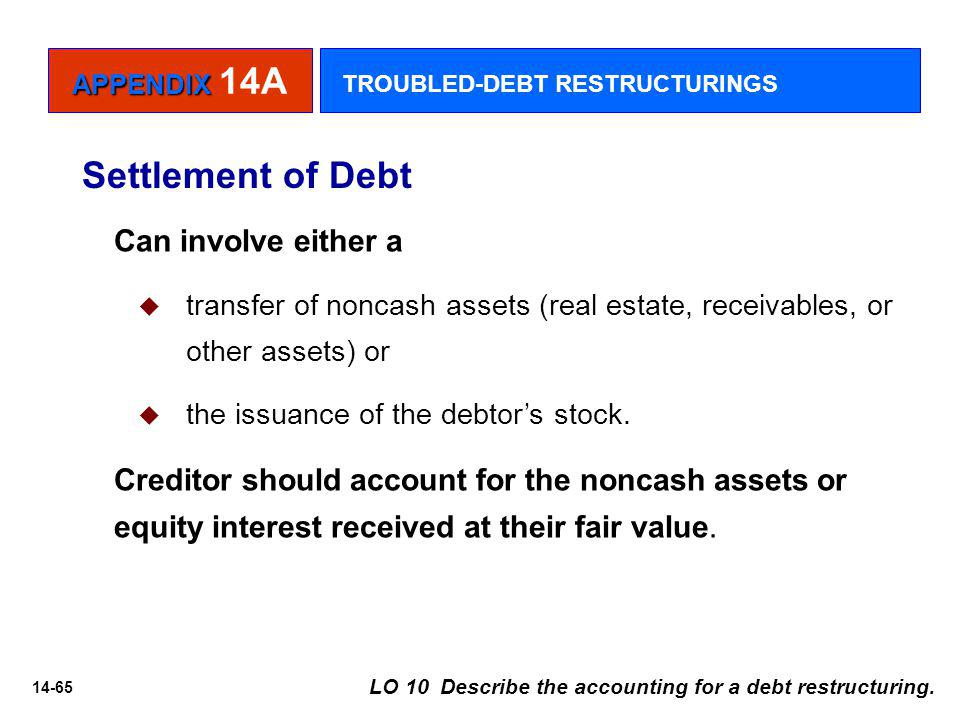 Settlement of Debt Can involve either a