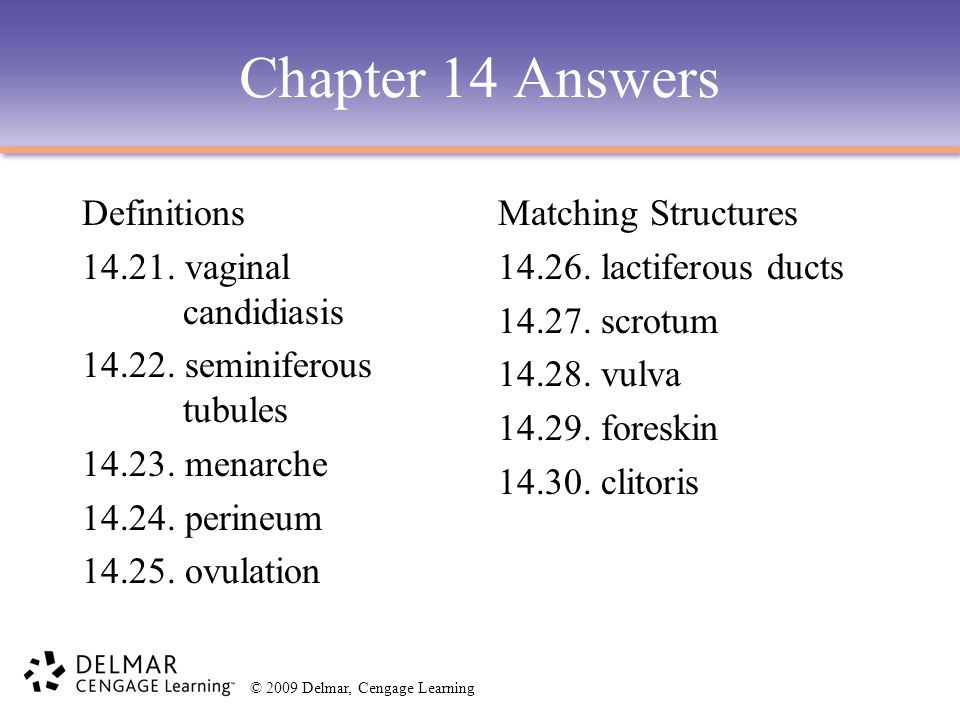 Chapter 14 Answers Definitions 14.21. vaginal candidiasis