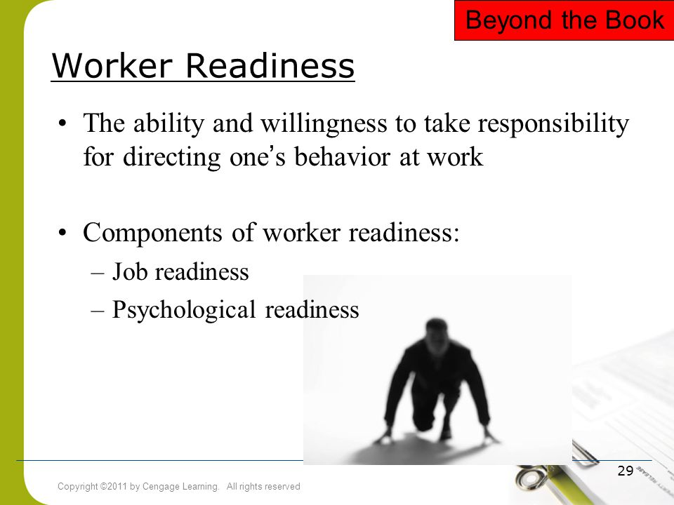Beyond the Book Worker Readiness. The ability and willingness to take responsibility for directing one's behavior at work.