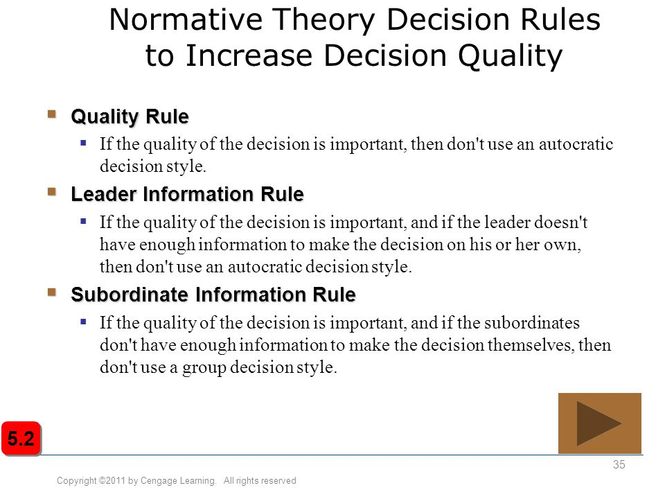Normative Theory Decision Rules to Increase Decision Quality