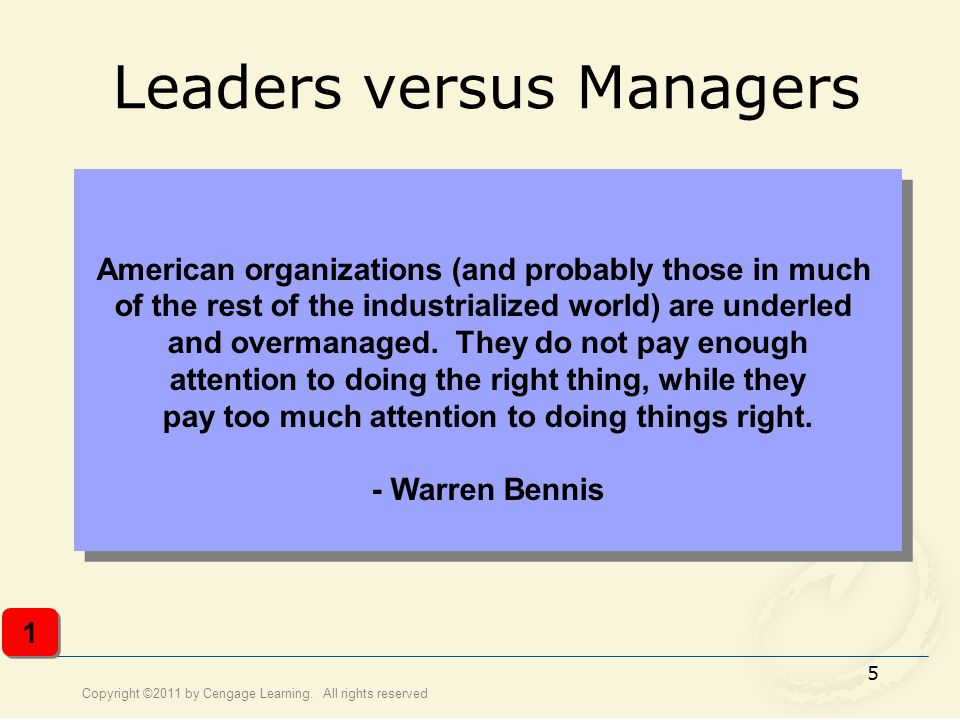 Leaders versus Managers