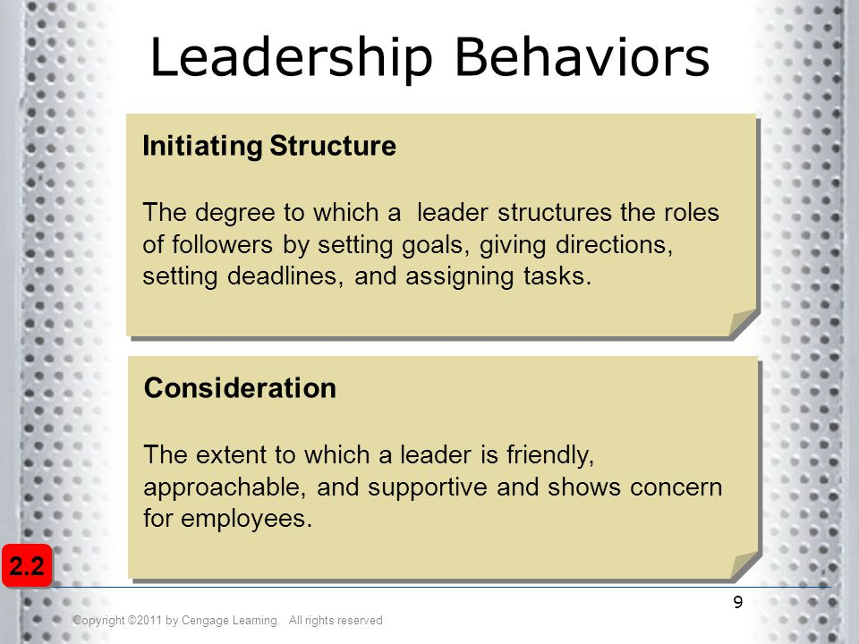 Leadership Behaviors Initiating Structure Consideration