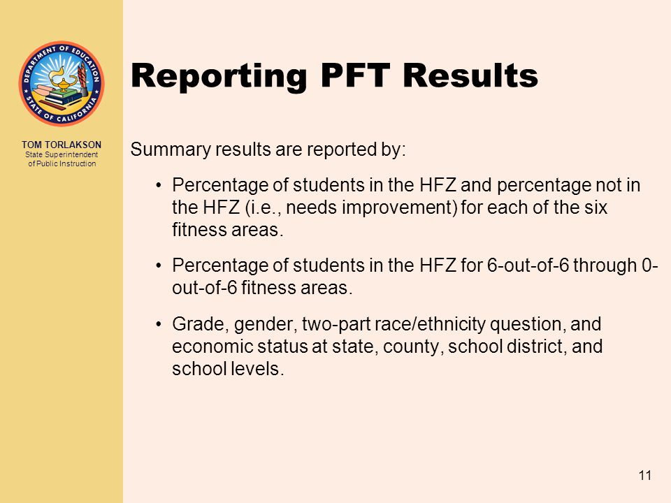 Reporting PFT Results Summary results are reported by: