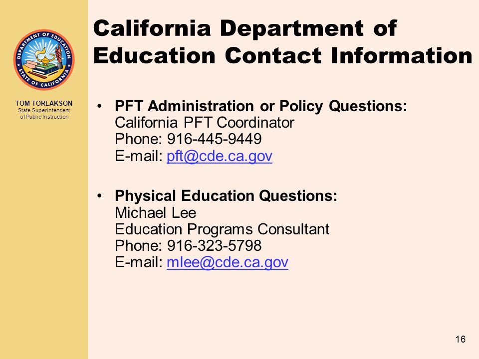 California Department of Education Contact Information