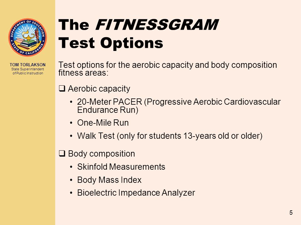 The FITNESSGRAM Test Options