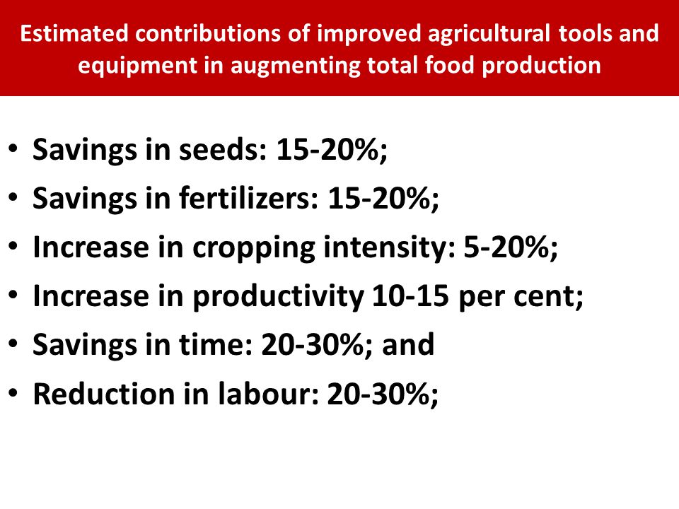 Savings in fertilizers: 15-20%; Increase in cropping intensity: 5-20%;