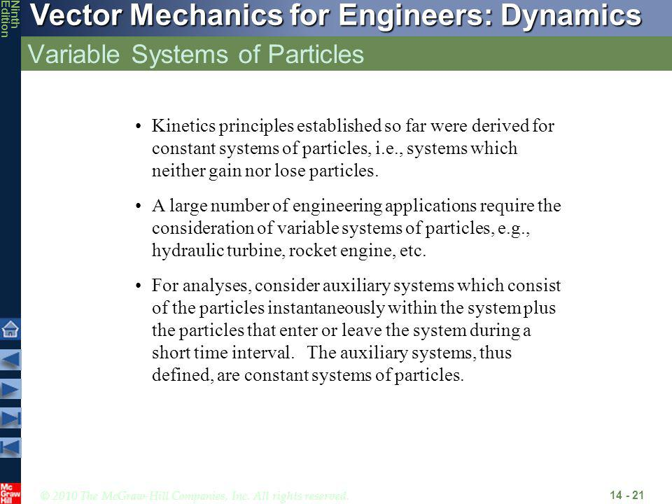 Variable Systems of Particles