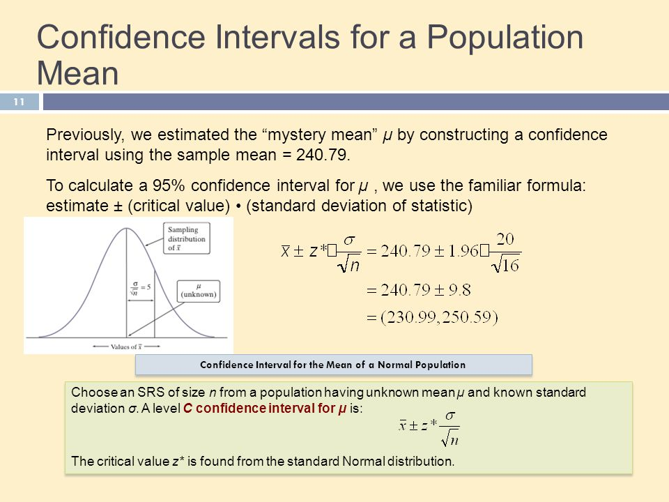 Confidence Intervals for a Population Mean
