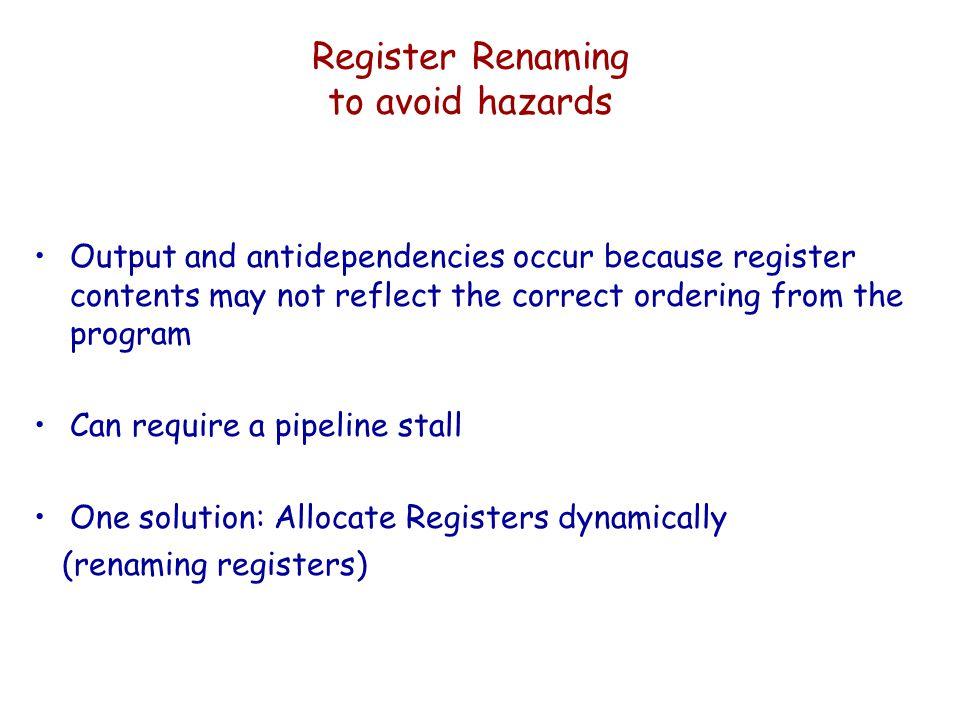 Register Renaming to avoid hazards