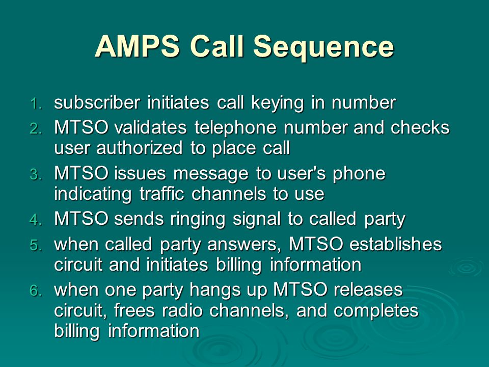 AMPS Call Sequence subscriber initiates call keying in number