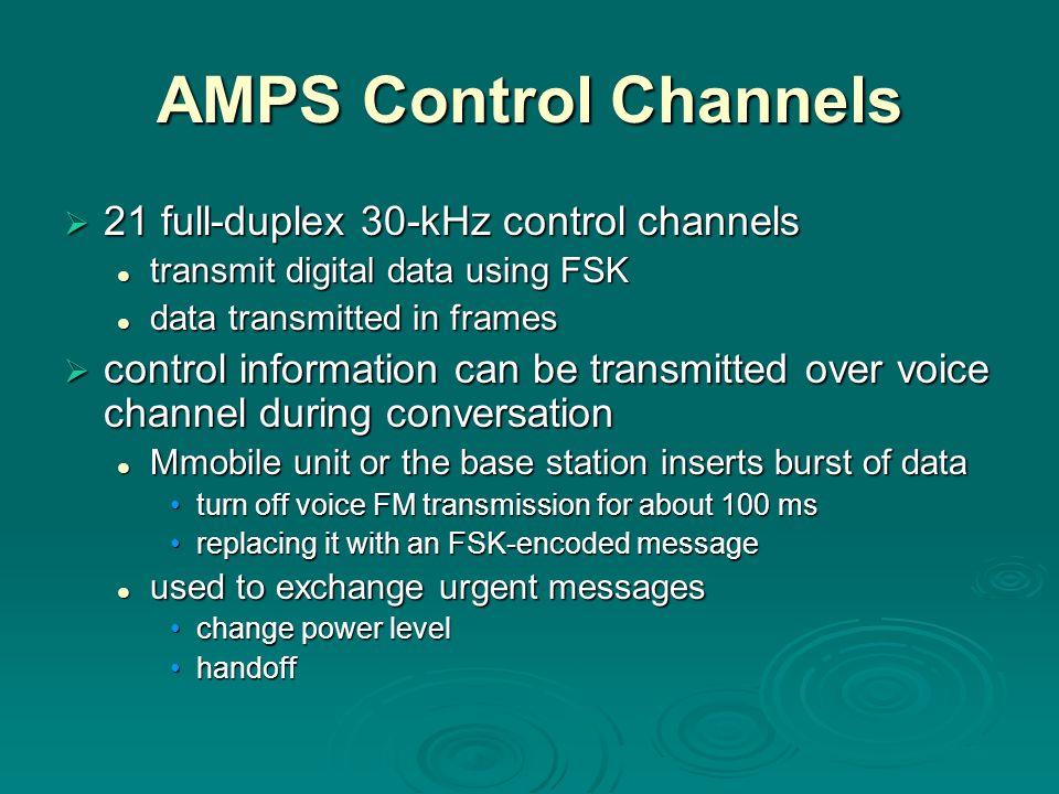 AMPS Control Channels 21 full-duplex 30-kHz control channels
