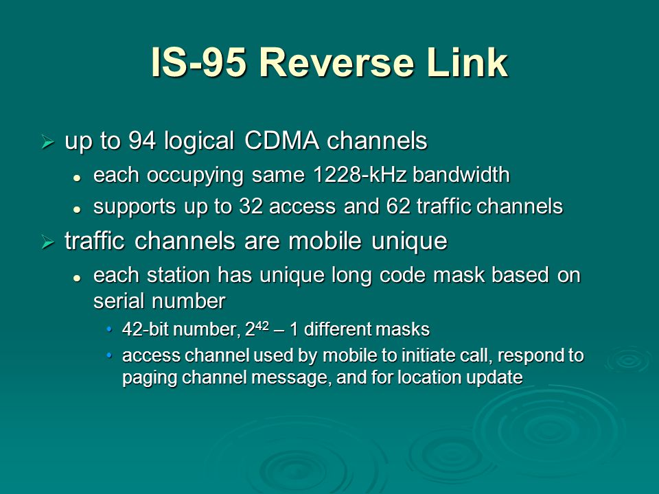IS-95 Reverse Link up to 94 logical CDMA channels