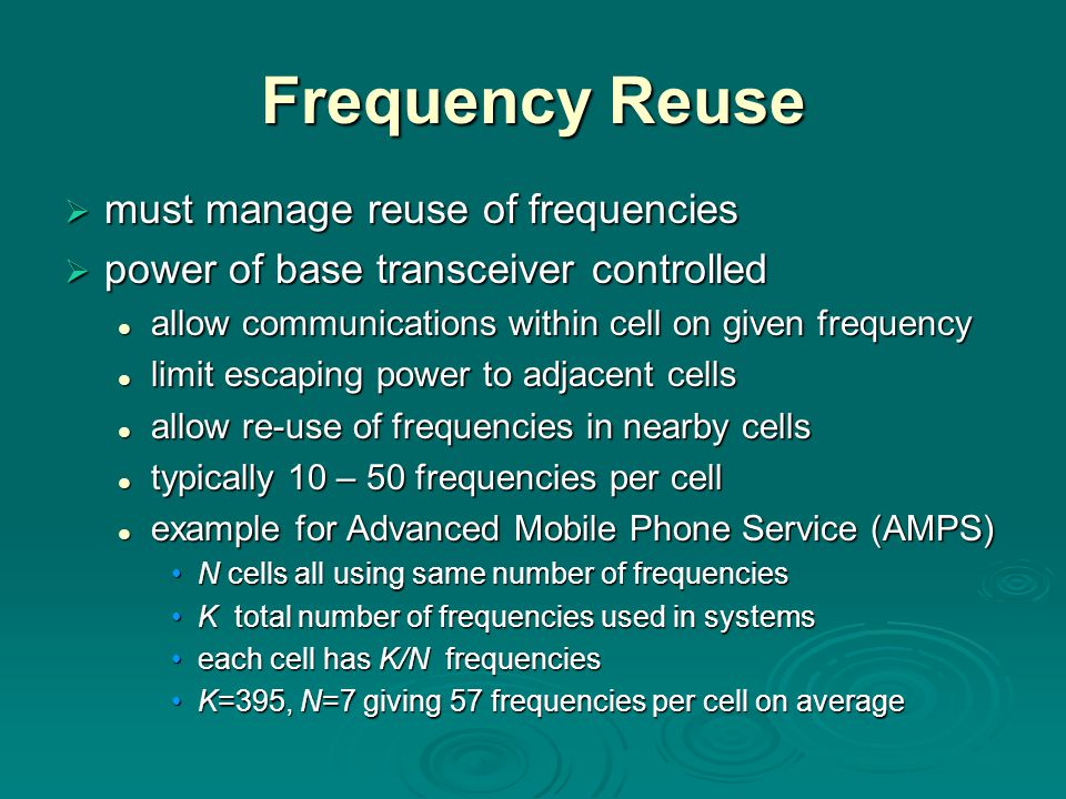 Frequency Reuse must manage reuse of frequencies