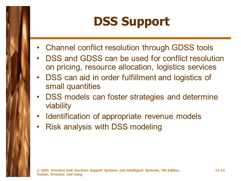 DSS Support Channel conflict resolution through GDSS tools
