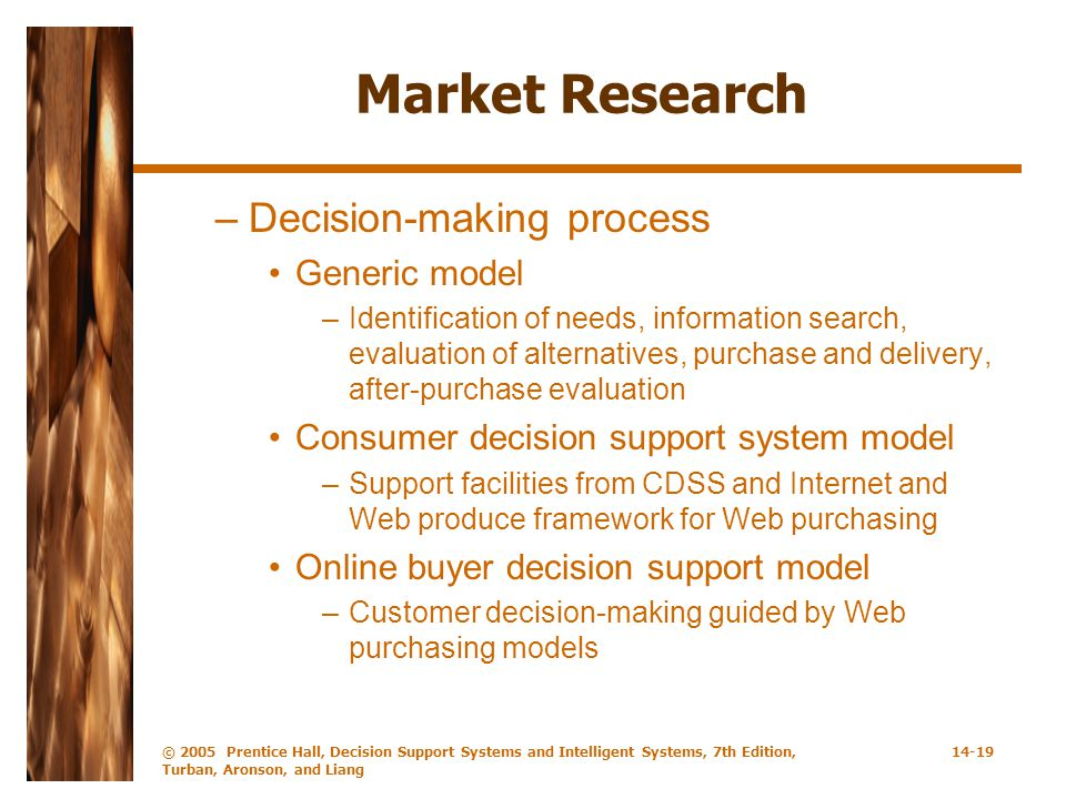 Market Research Decision-making process Generic model
