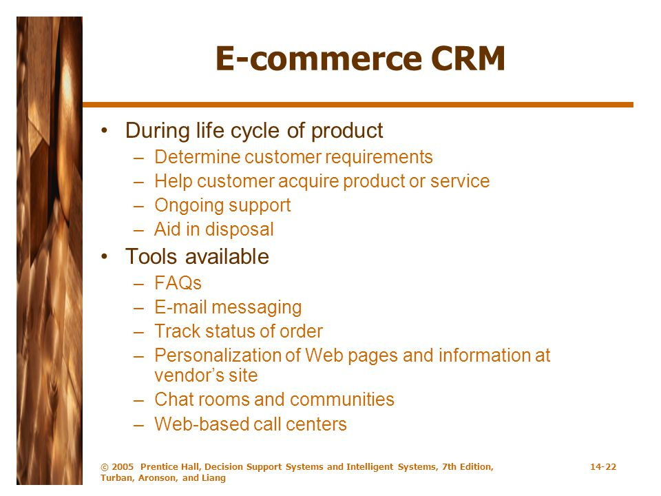 E-commerce CRM During life cycle of product Tools available