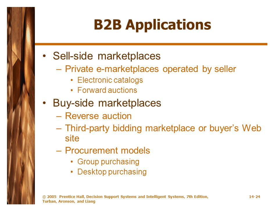 B2B Applications Sell-side marketplaces Buy-side marketplaces