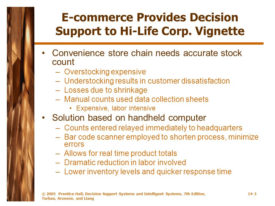 E-commerce Provides Decision Support to Hi-Life Corp. Vignette