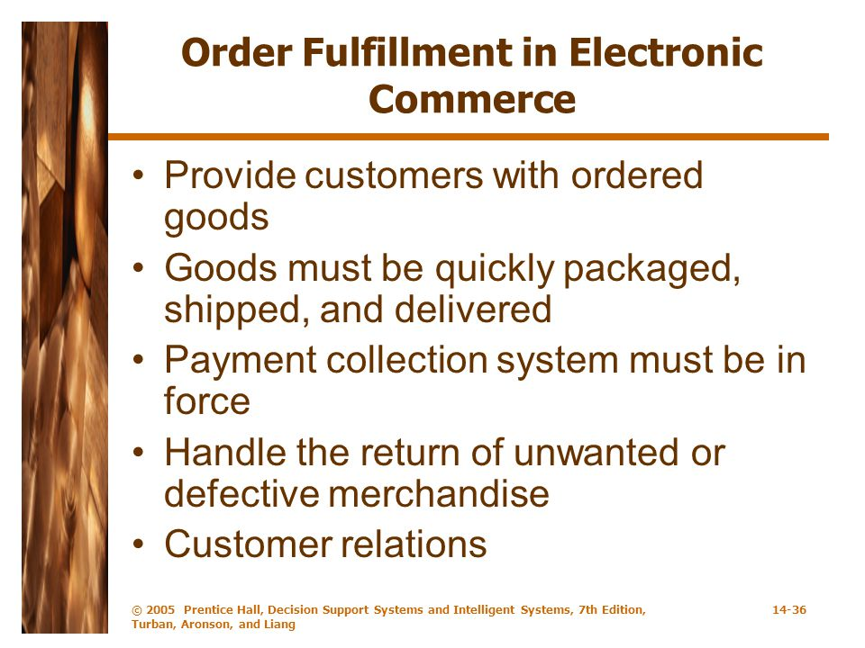 Order Fulfillment in Electronic Commerce