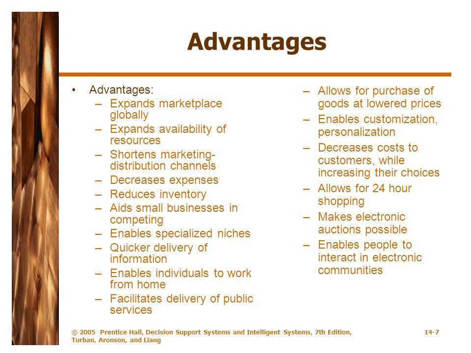 Advantages Advantages: Expands marketplace globally